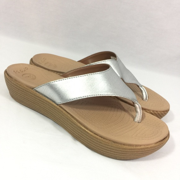 569c7cef9beaf6 CROCS Shoes - Crocs A-Leigh Flip Flops Silver Thong Sandals Sz 9